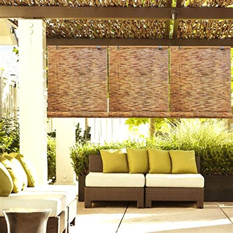 Bamboo Shades Patio Outdoor Patio Garden Natural Reed Woven Wood Bamboo Roll