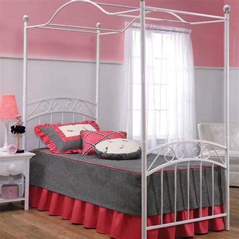 twin bed canopy shop hillsdale furniture emily white twin canopy bed at