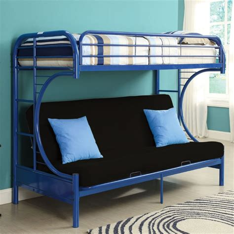 bunk bed queen and twin acme furniture eclipse twin xl over queen and futon bunk