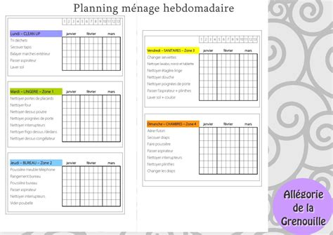 Planning Femme De Chambre 4249 by Orga 3 Un Planning M 233 Nage All 233 Gorie De La Grenouille