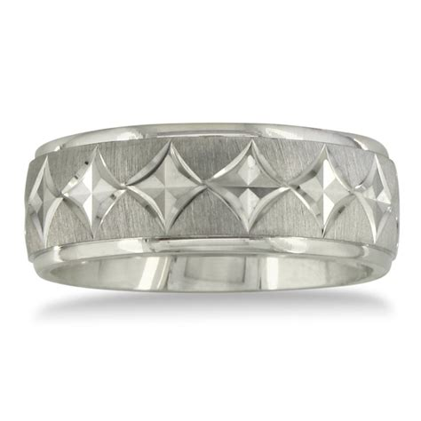 mens and womens cut silver wide 8mm wedding band