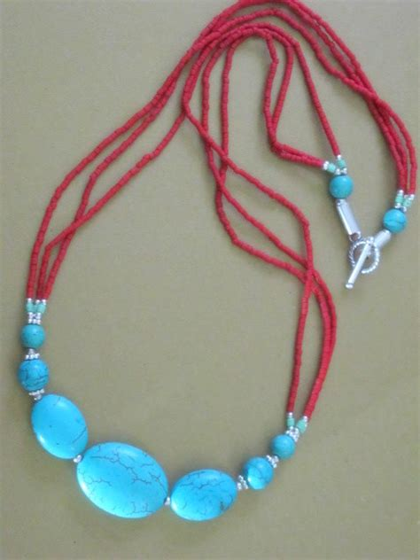 Handcrafted Turquoise Jewelry - turquoise and coral seed necklace handcrafted