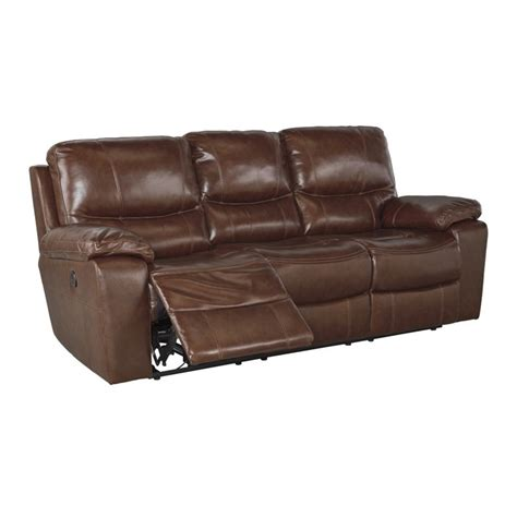 penache power reclining leather sofa in saddle