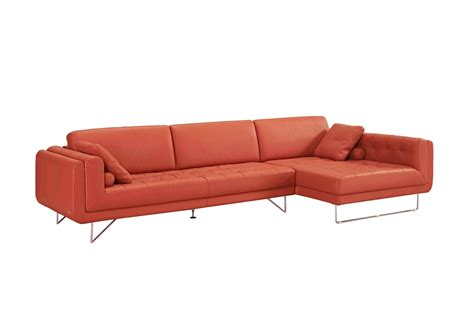 orange sectional sofa divani casa katie modern orange italian leather sectional sofa