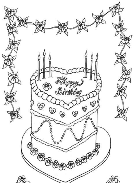 coloring page birthday cake no candles coloring pages beautiful birthday cake coloring page