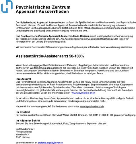 Anschreiben Bewerbung Assistenzarzt Psychiatrie Stellenangebot Assistenzarzt Psychiatrie Und Psychotherapie In Herisau Schweiz