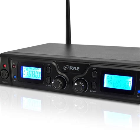 Mic Wireless Doubel Sound Uhf Dielngkapi Lcd Display pyle pdwm3360 uhf wireless microphone system with 2 handheld mics selectable frequency