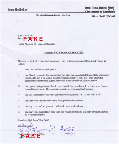 Guarantee Letter To Hospital Scamorama