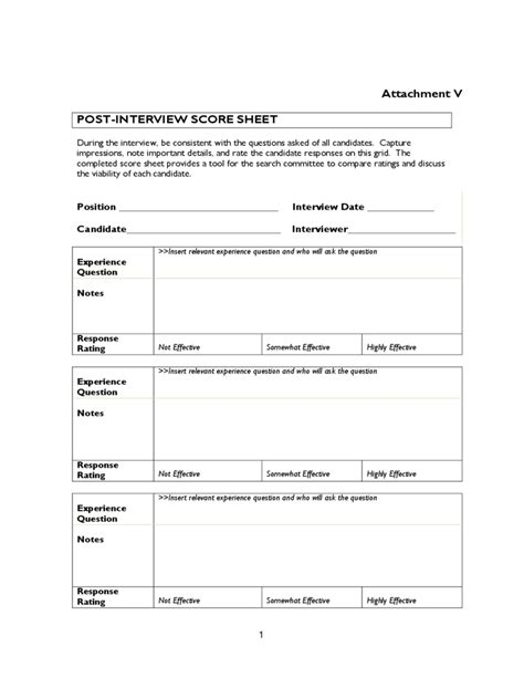 interview score sheet 5 free templates in pdf word
