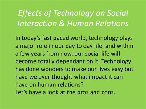 Effects Of Technology Essay by Social Interaction Impact Of Technology