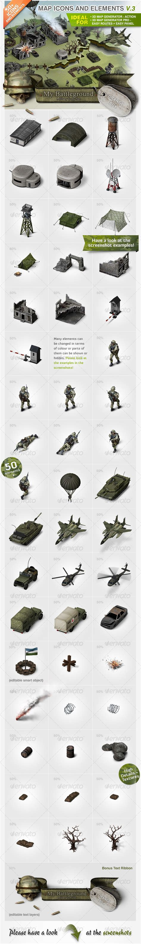 map icons and elements v 3 military set by orange box