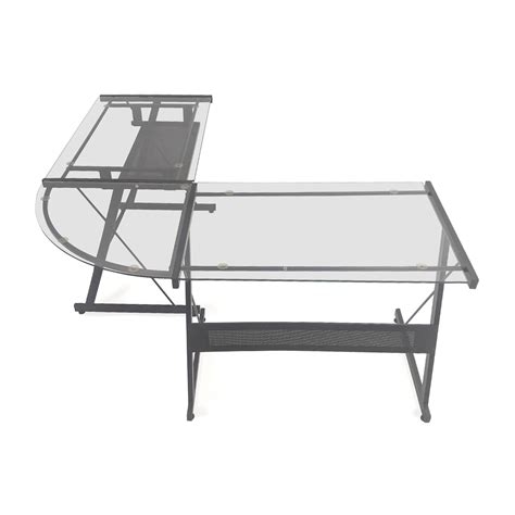 glass desk l shape glass l shaped desk glass lshaped desk in miami modern
