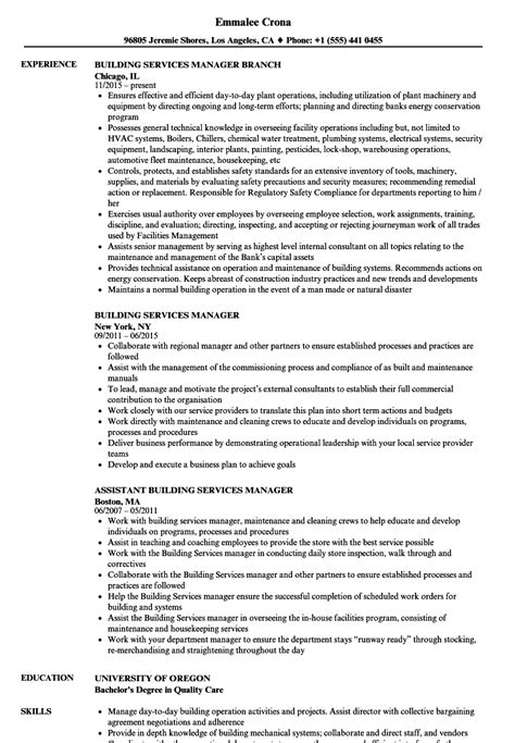 building services manager resume sles velvet