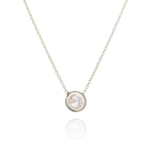 sterling silver necklace with a single cubic zirconia