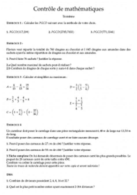 Contrôle corrigé de mathématiques troisième : PGCD et