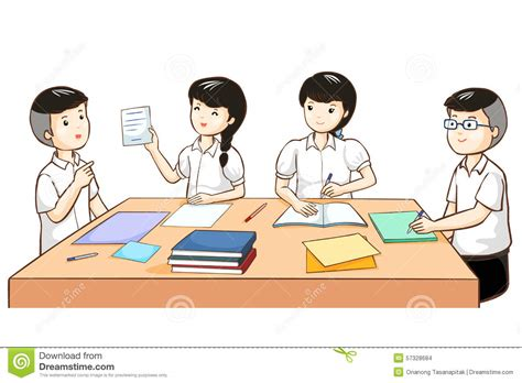 students working in groups clip art student work together in group stock vector illustration