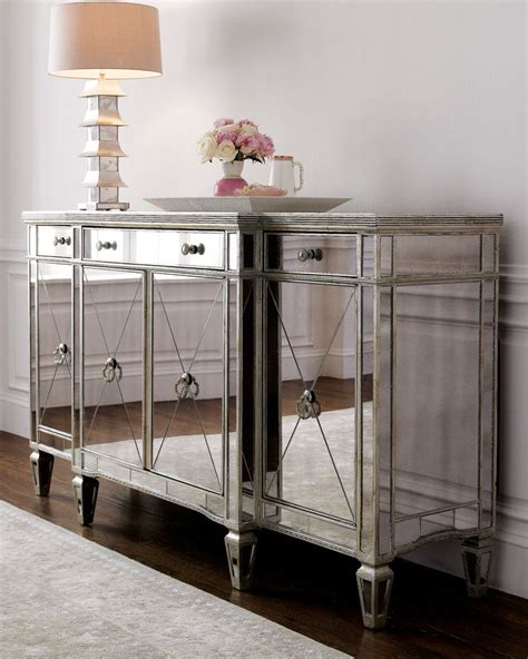 storage cabinet chest mirrored accent table console buffet dining room consoles buffets storage cabinet chest
