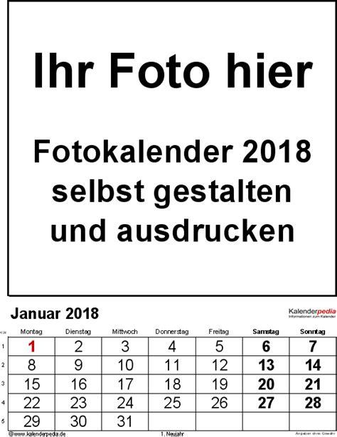 Word Vorlage Jahreskalender 2018 Fotokalender 2018 Als Word Vorlagen Zum Ausdrucken Kostenlos