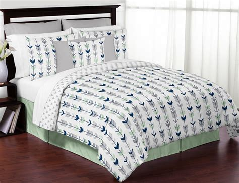 arrow bedding mod arrow grey navy and mint full queen bedding collection