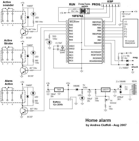 home alarm security system microcontroller project circuit