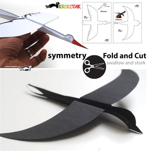 How To Fold A Bird Out Of Paper - krokotak symmetry fold and cut