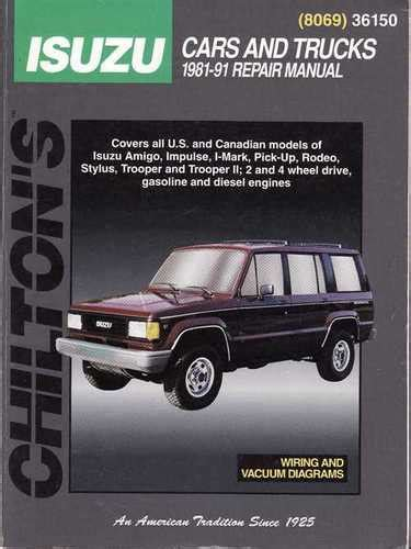 chilton car manuals free download 1993 isuzu amigo on board diagnostic system holden rodeo jackaroo isuzu 1981 1991 workshop manual