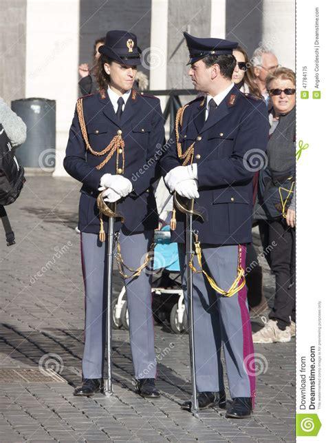 by the polizia di stato italian state police taken at a polizia two italian policemen polizia in full uniform editorial
