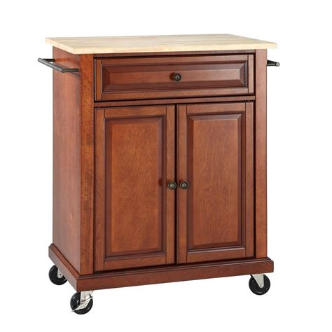 mobile kitchen islands crosley kitchen islands 28 1 4 in w natural wood top mobile kitchen island cart in cherry
