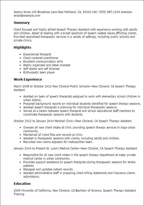 Speech Therapy Resume Objective by Speech Therapy Assistant Resume Template Best Design