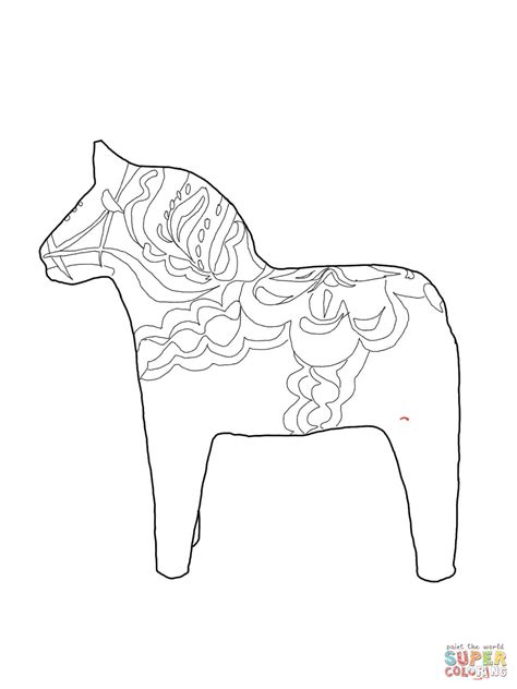 swedish dala horse coloring online super coloring