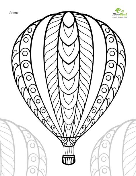 hot air balloon adult  printable colouring page hot