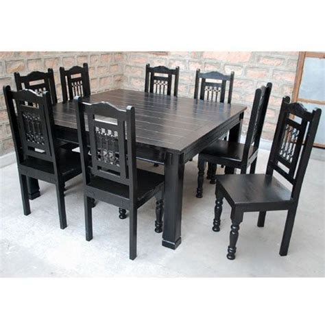 Square Kitchen Table For 8 Rustic Solid Wood Square Block Legs Dining Table Black Chairs Tables And Square