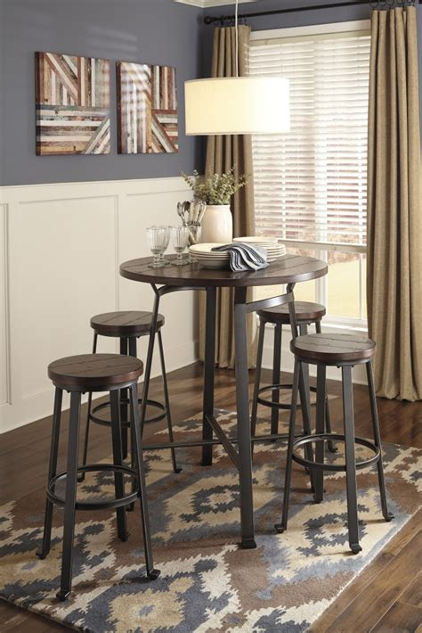 Round Dining Room Table For 4 Challiman Round Dining Room Bar Table Amp 4 Tall Stools