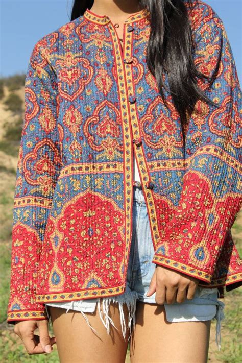vintage bohemian quilted indian cotton jacket