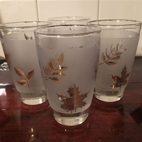 Frosted Bar Glasses Vintage Libbey Gold Leaf Frosted Bar Glasses