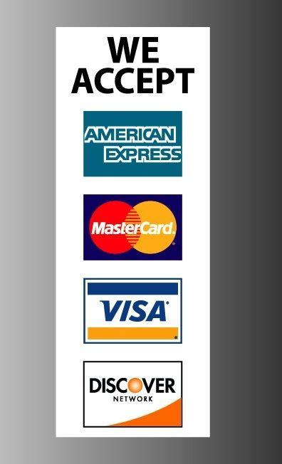 we accept cards sticker template we accept credit card visa mastercard amex discover