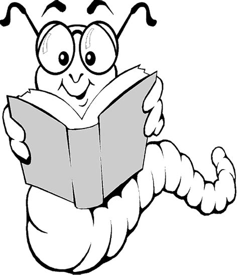 bookworm black and white clipart clipart suggest