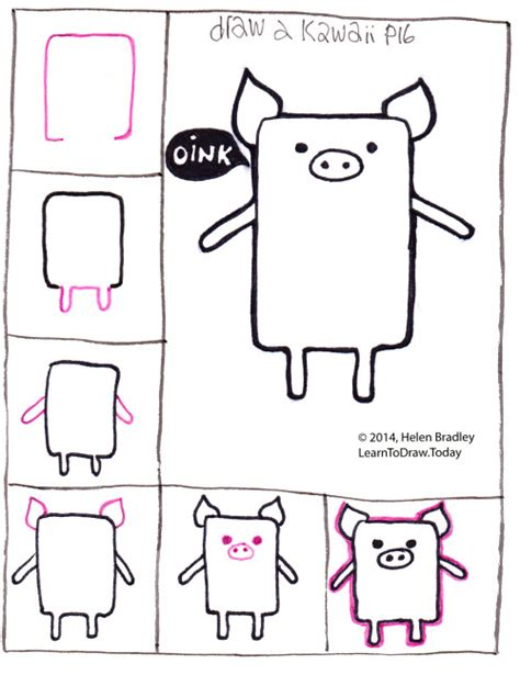 Drawing 6 6 Draw by Draw A Kawaii Style Pig In 6 Steps Learn To Draw