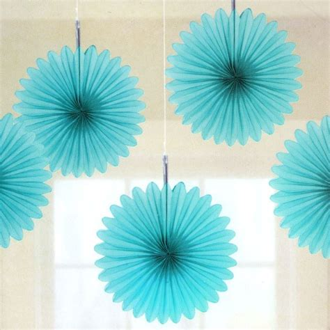 Make Paper Decorations - 5 turquoise tissue paper fan decorations pipii