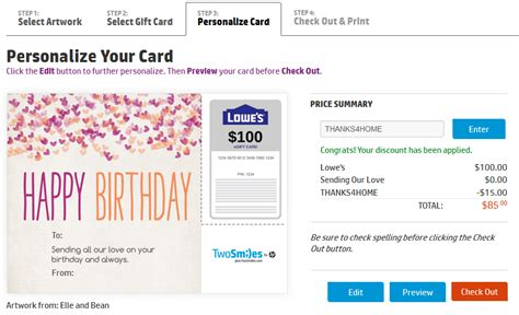 15 off printed gift cards sears lowes jcp frequent miler - Lowes Gift Card Promo Code