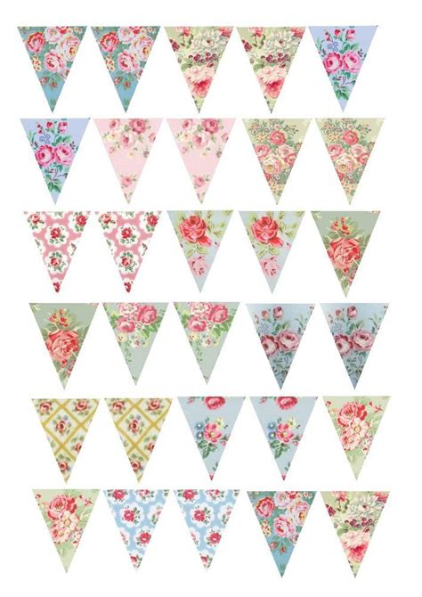 30 vintage shabby chic floral rose bunting cake cupcake