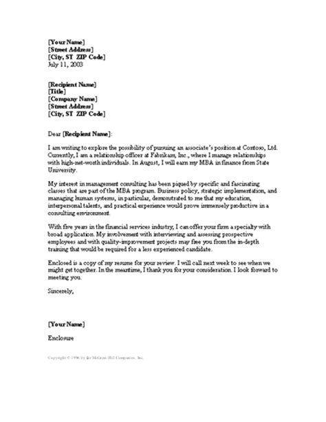 Cover Letter For Consultant Management Consultant Cover Letter Word 2003 Or Newer Letter Sles And Templates