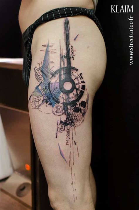 abstract tattoos graphic design on leg ink designs