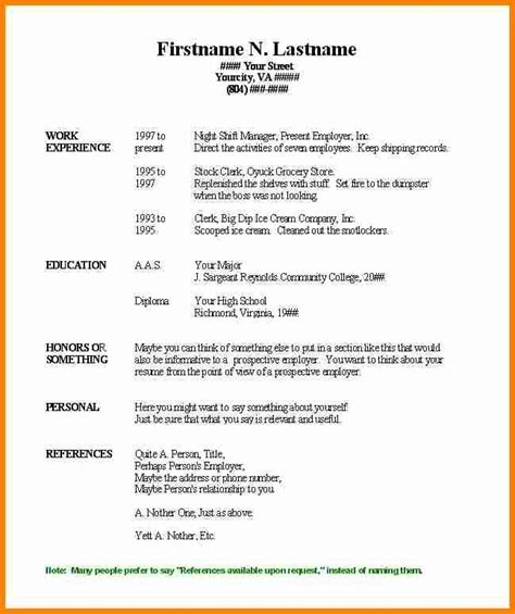 Microsoft Word Basic Resume Template by Simple Resume Format In Word 5 Simple Resume Format In