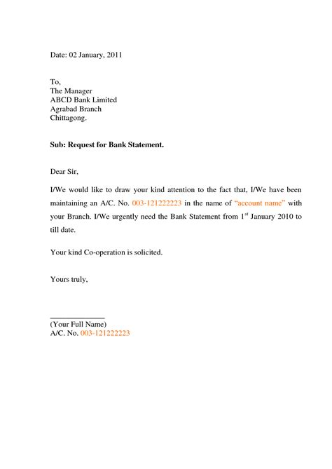 Bank Statement Request Letter For Saving Account best photos of letter requesting statement of account