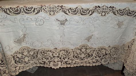 embroidered tablecloth antique with 20inch lace banquet