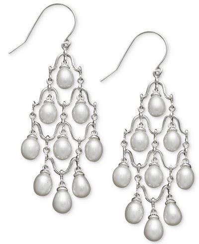 vintage pearl chandelier earrings cultured freshwater pearl chandelier earrings in sterling