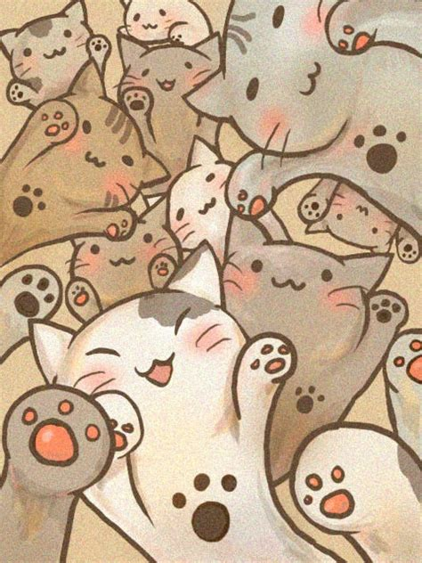 cute cat drawings iphone wallpapers cat art kawaii catart kitty kitty