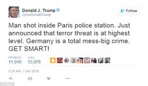donald trump recent tweets does donald trump suggest paris is in germany in his
