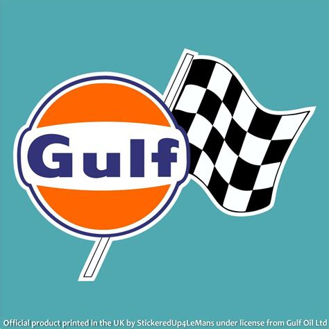 gulf logo gulf chequered flag logo decal stickeredup4lemans